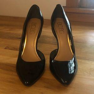 BCBG black patent pointy-toe heels, women's size 9